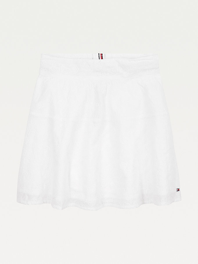 white organic cotton broderie anglaise skirt for girls tommy hilfiger