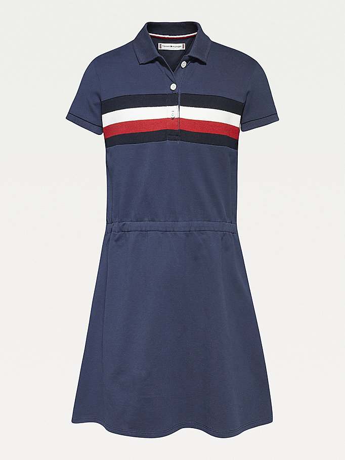 abito polo in cotone biologico blu da girls tommy hilfiger
