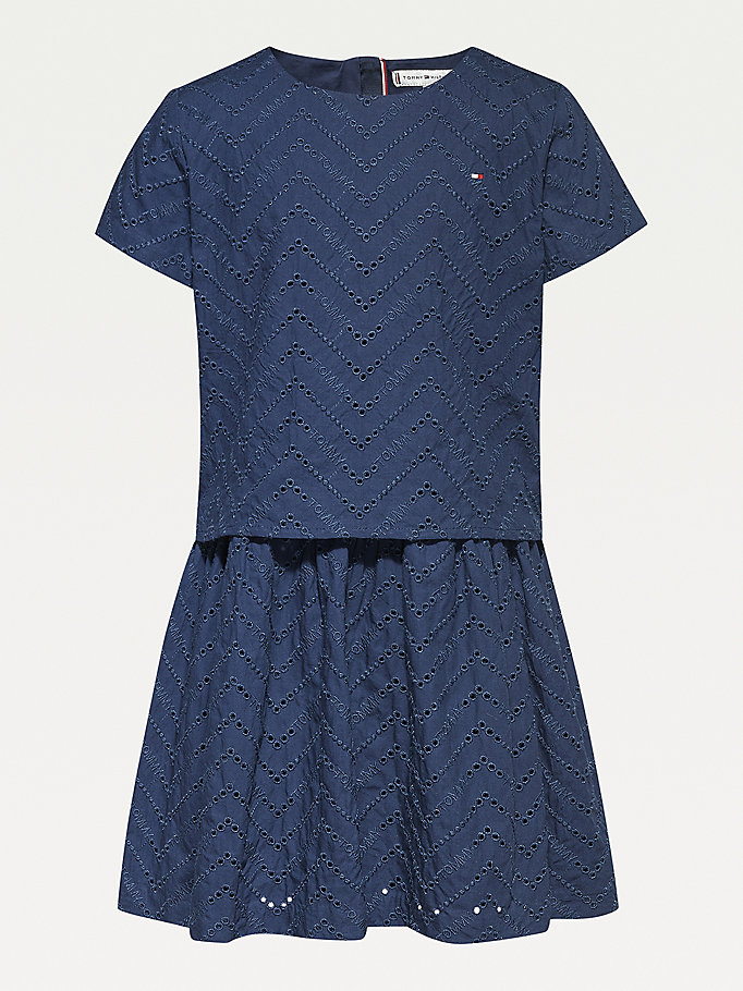 blue organic cotton broderie anglaise layered dress for girls tommy hilfiger