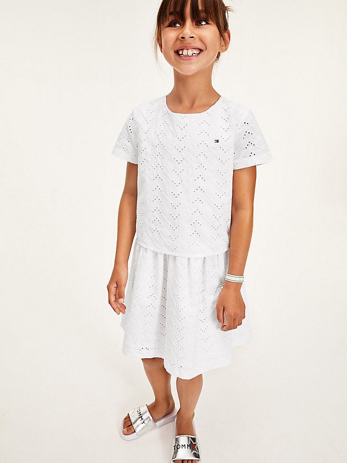 white organic cotton broderie anglaise layered dress for girls tommy hilfiger