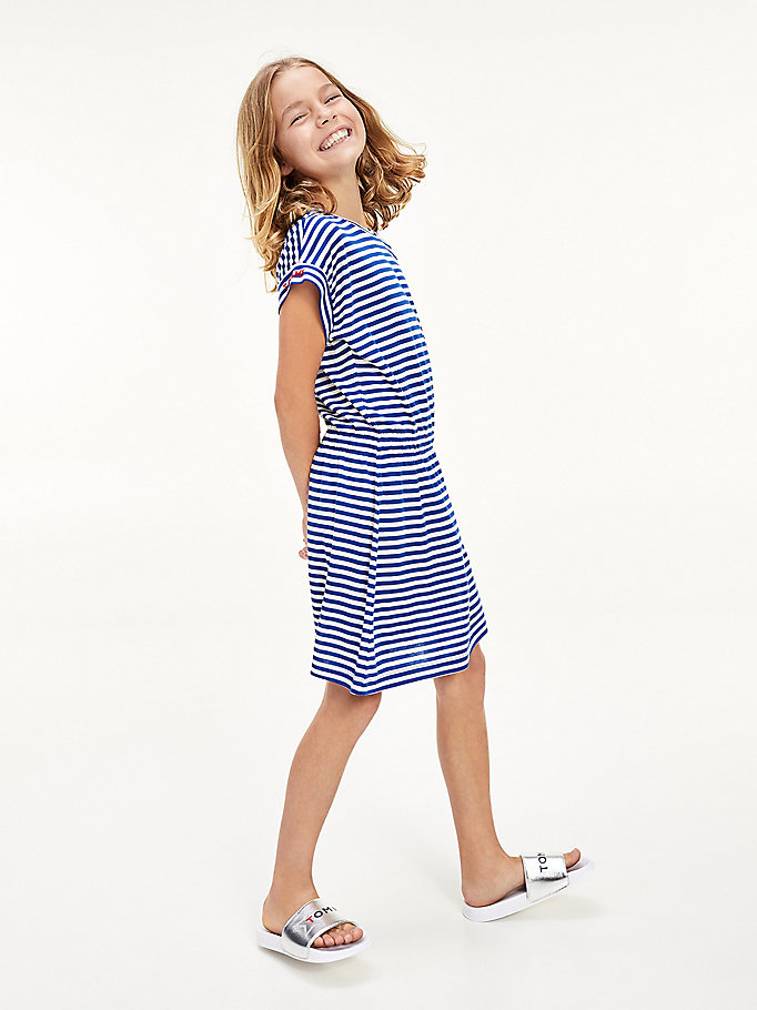 blue stripe t-shirt dress for girls tommy hilfiger