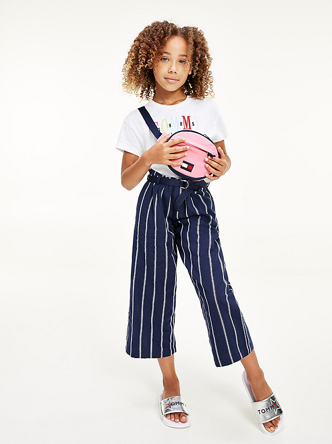 blue stripe paperbag waist trousers for girls tommy hilfiger