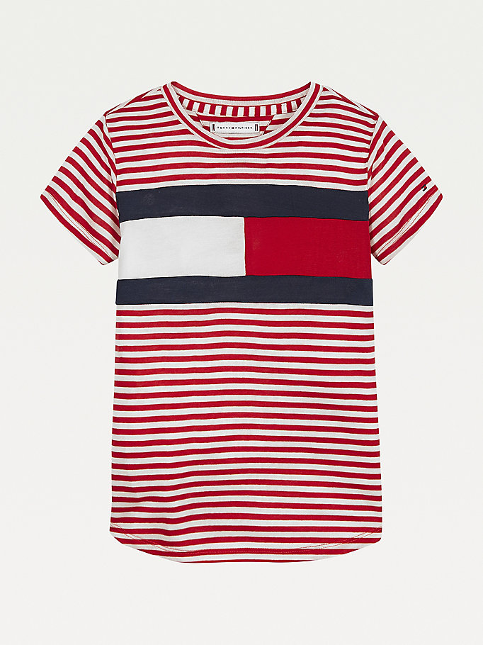 white stripe knit flag t-shirt for girls tommy hilfiger