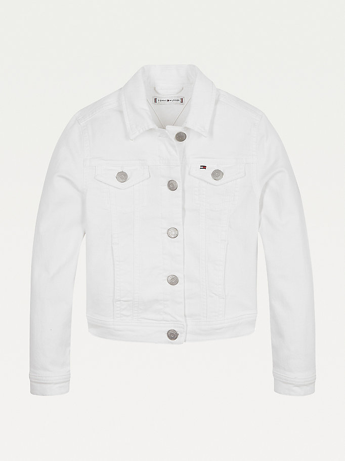 white denim trucker jacket for girls tommy hilfiger