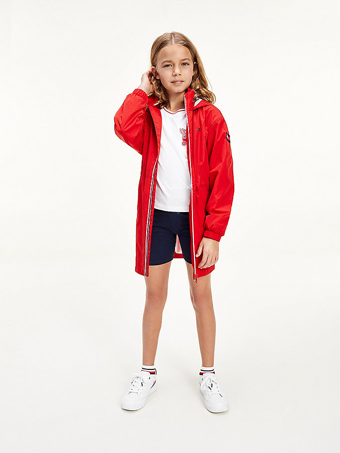 red lightweight parka for girls tommy hilfiger