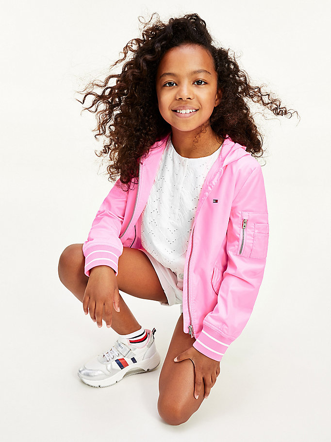 pink signature logo hooded jacket for girls tommy hilfiger