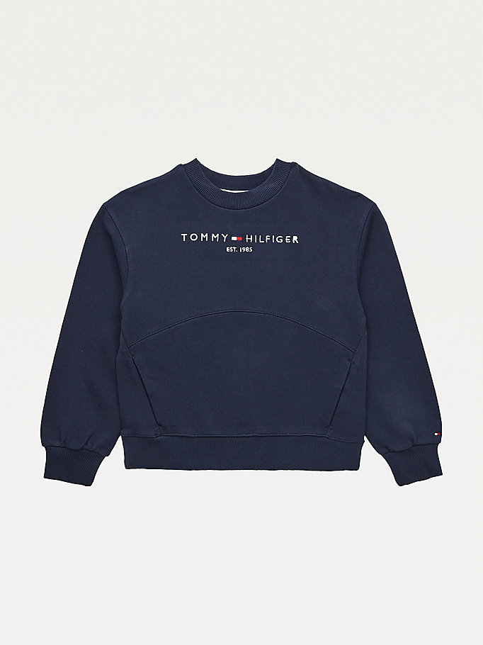 blue essential organic cotton terry sweatshirt for girls tommy hilfiger