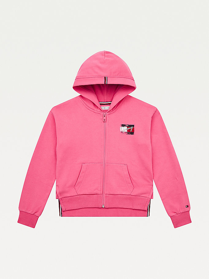 pink logo print hoody for girls tommy hilfiger