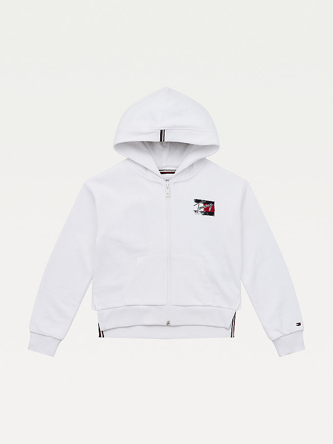 white logo print hoody for girls tommy hilfiger