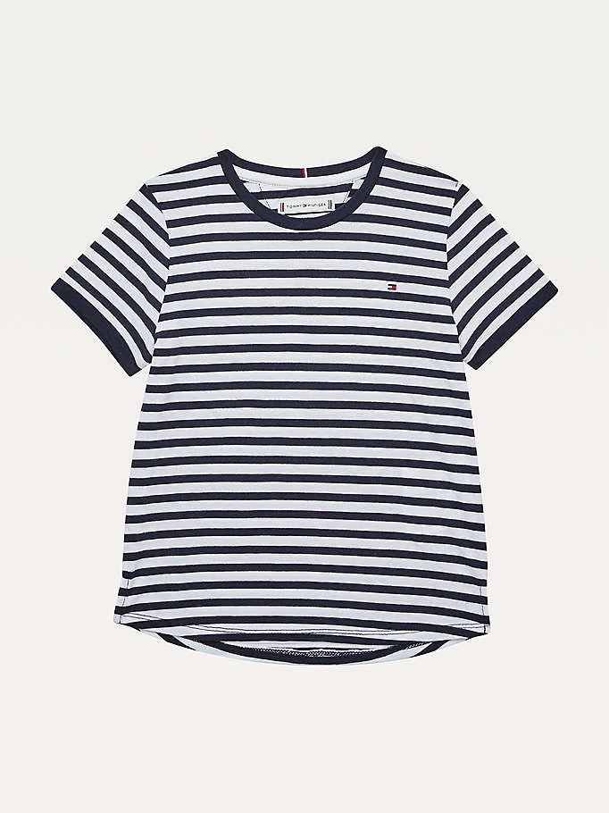 t-shirt essential rayé bleu pour girls tommy hilfiger