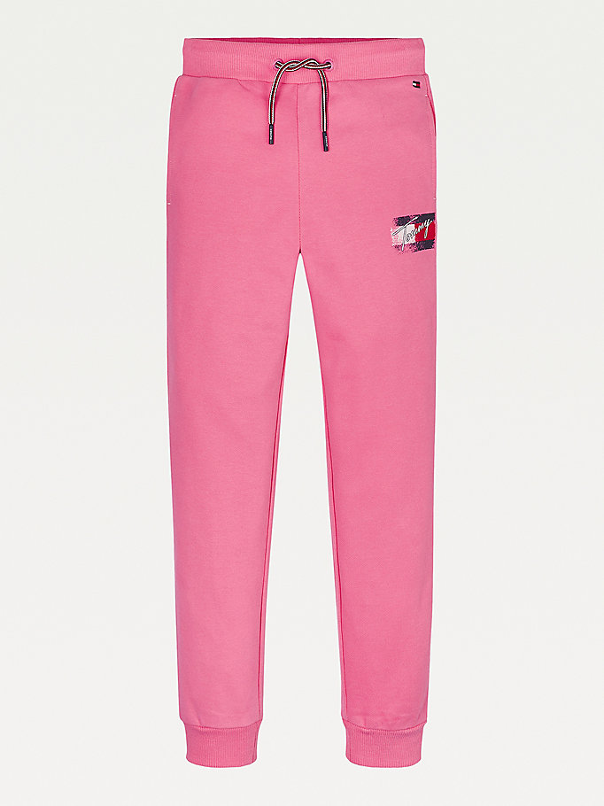 pink logo print joggers for girls tommy hilfiger