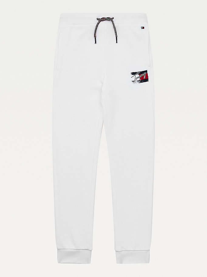 white logo print joggers for girls tommy hilfiger