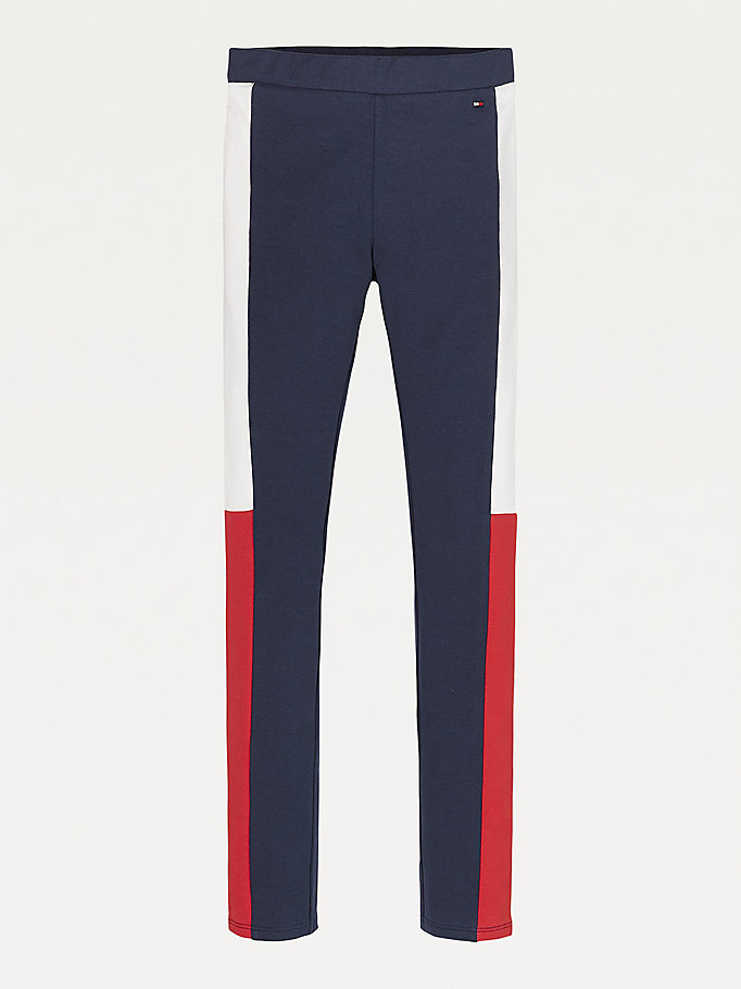 blau color block-leggings in voller länge für girls - tommy hilfiger