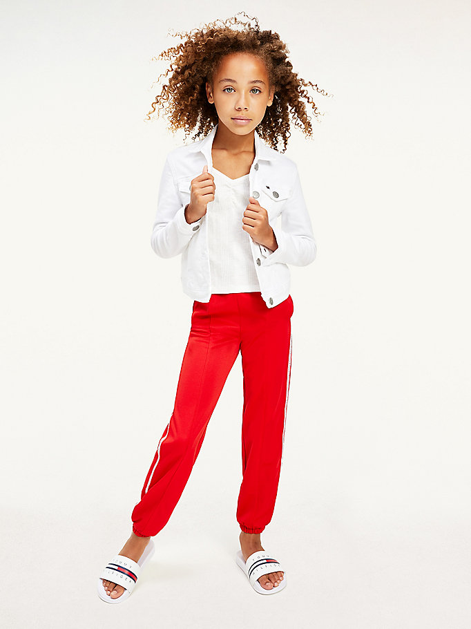 red logo tape tracksuit joggers for girls tommy hilfiger