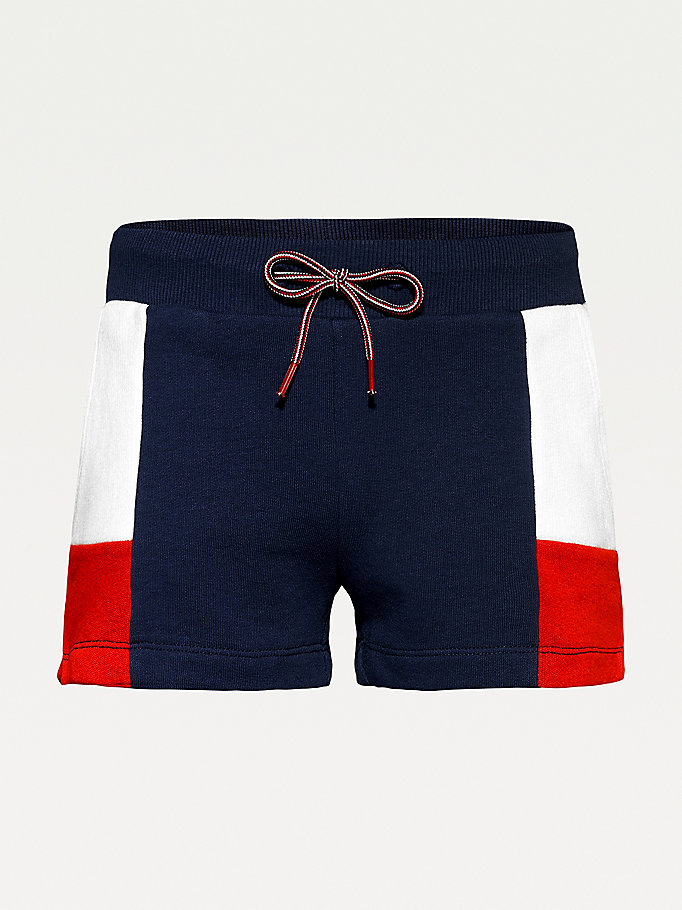 blue colour-blocked organic cotton shorts for girls tommy hilfiger