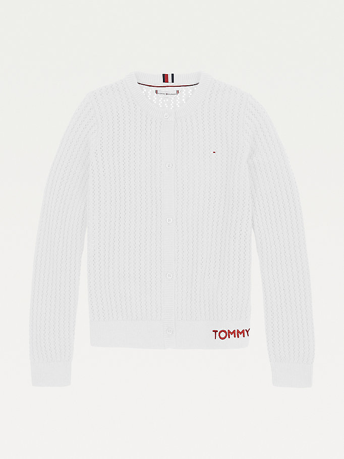white essential pointelle cardigan for girls tommy hilfiger