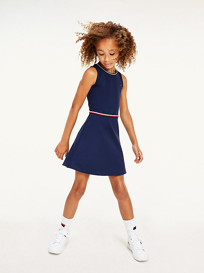 blue sleeveless skater dress for girls tommy hilfiger