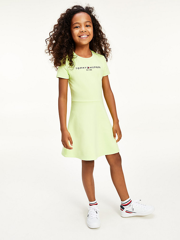 robe patineuse essential vert pour girls tommy hilfiger