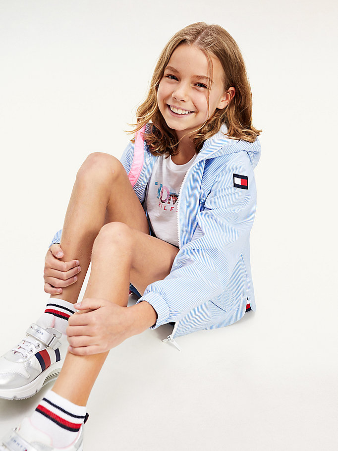 blue ithaca stripe hooded jacket for girls tommy hilfiger