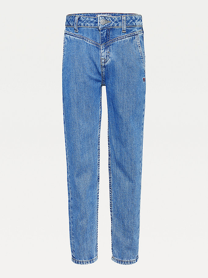 denim high rise tapered leg faded jeans for girls tommy hilfiger