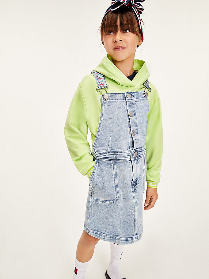 denim denim dungaree dress for girls tommy hilfiger