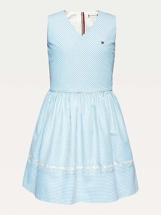 Gestreiftes Armelloses Kleid Mit V Ausschnitt Blau Tommy Hilfiger