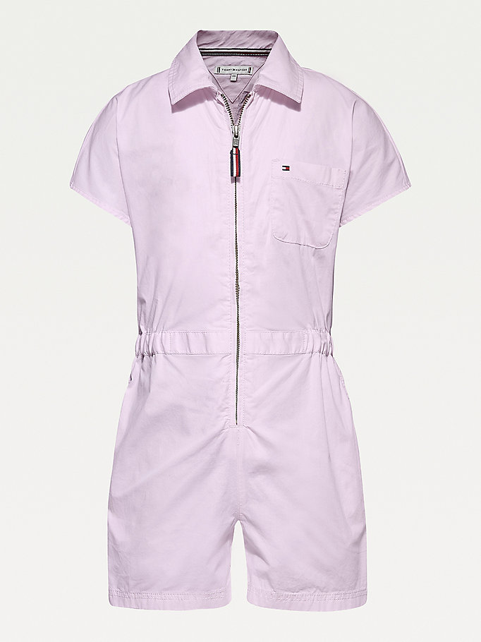 tuta corta in cotone stretch rosa da girls tommy hilfiger