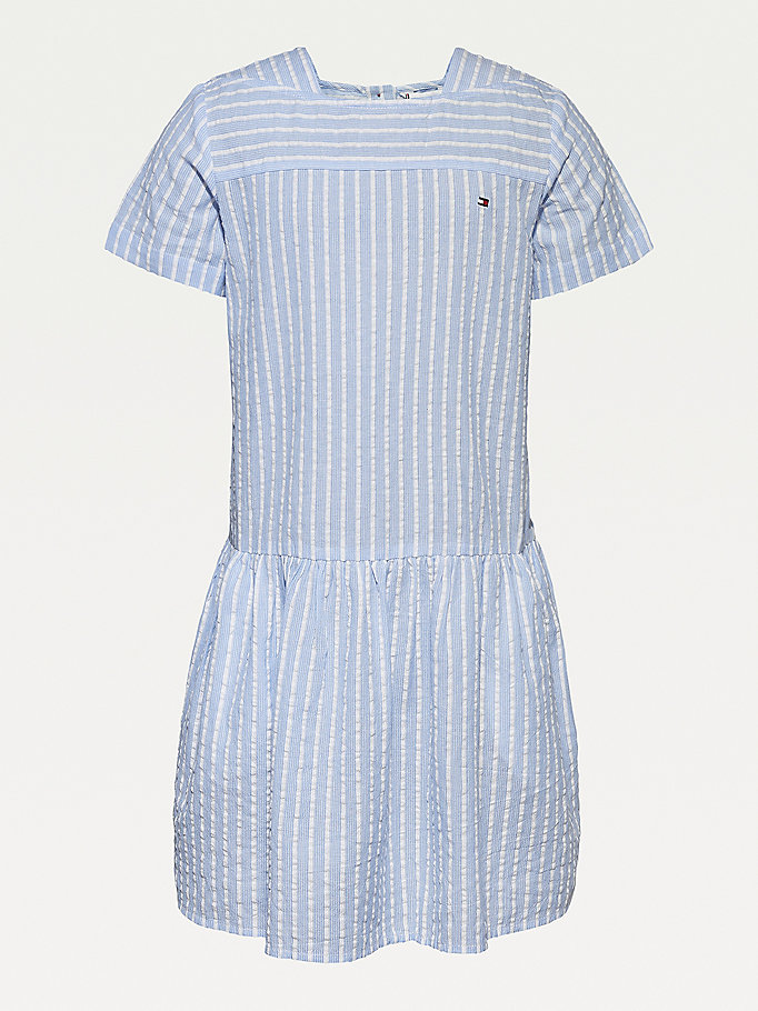 blue organic cotton seersucker stripe dress for girls tommy hilfiger