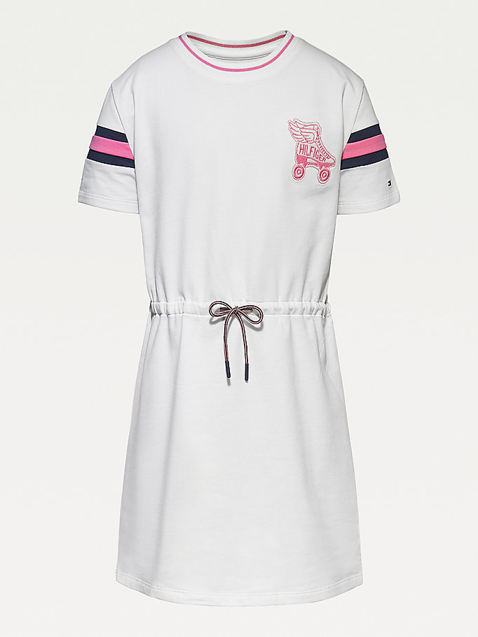 white organic cotton terry skater dress for girls tommy hilfiger