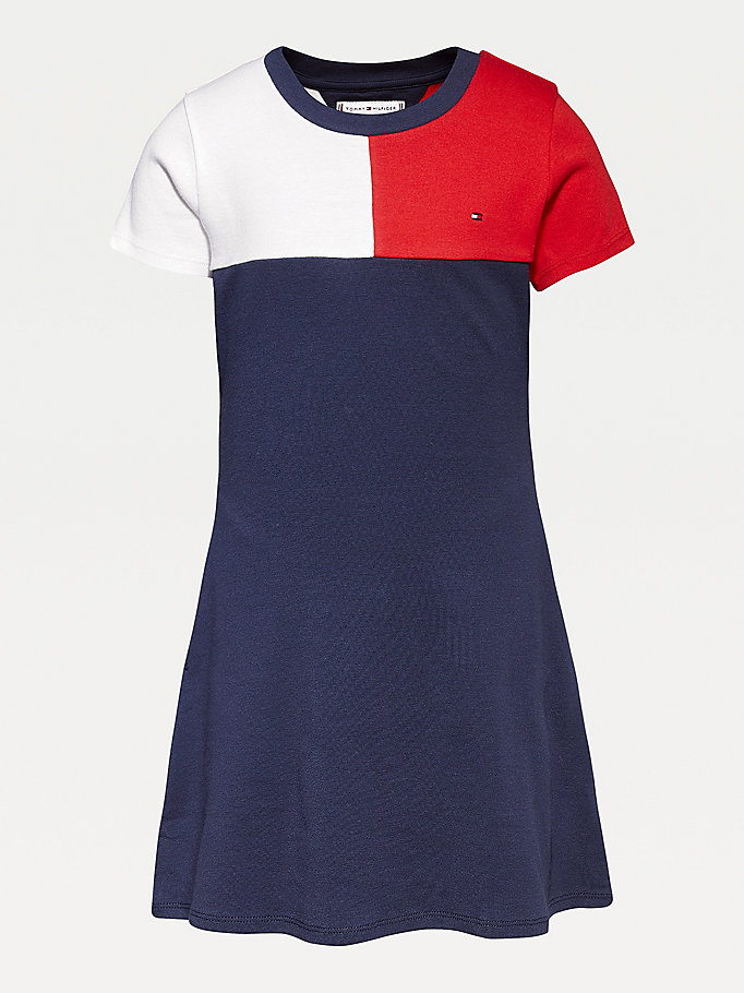 blue rib-knit skater dress for girls tommy hilfiger