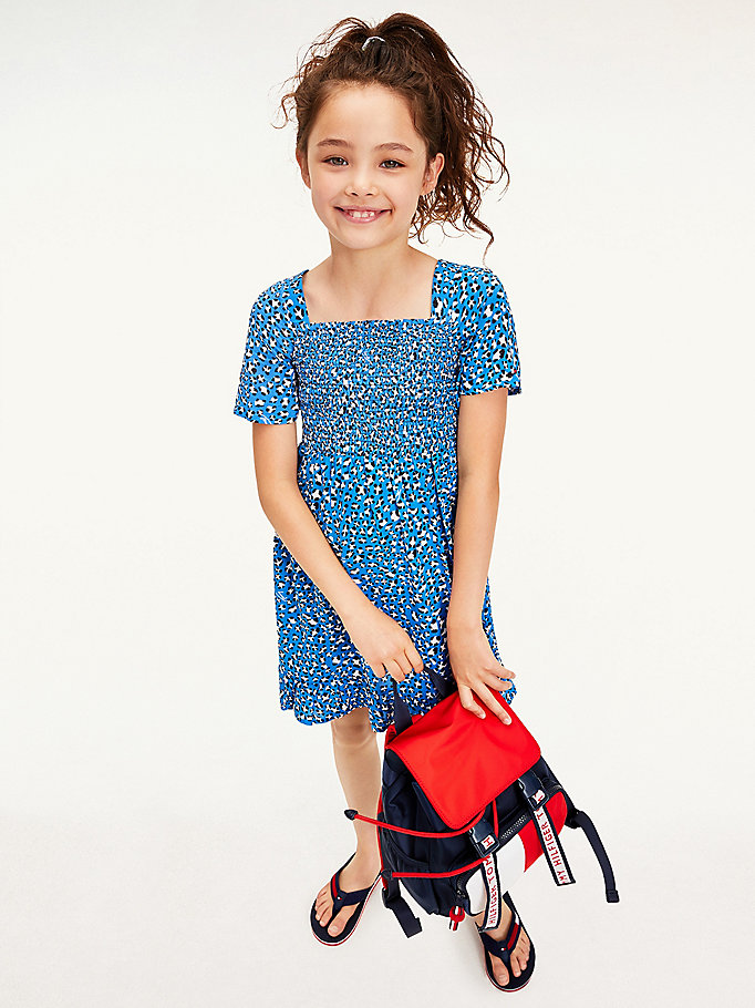 blue leopard print short sleeve dress for girls tommy hilfiger