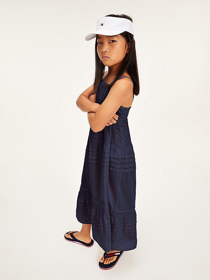 blue sleeveless maxi dress for girls tommy hilfiger