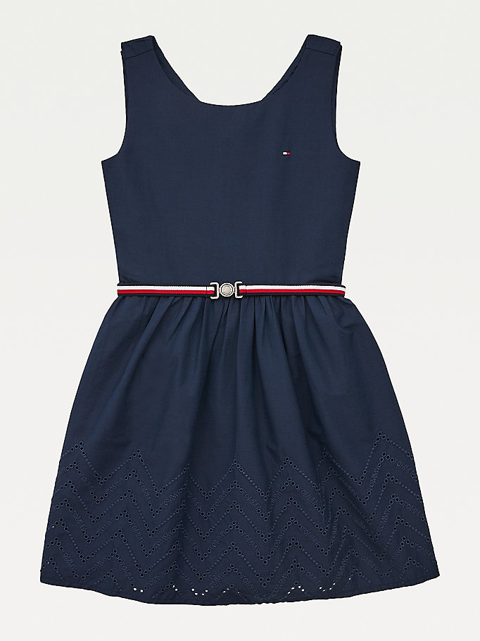 blue ruffle dress for girls tommy hilfiger
