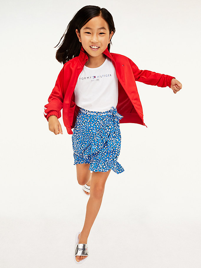 blue leopard print wrap skirt for girls tommy hilfiger