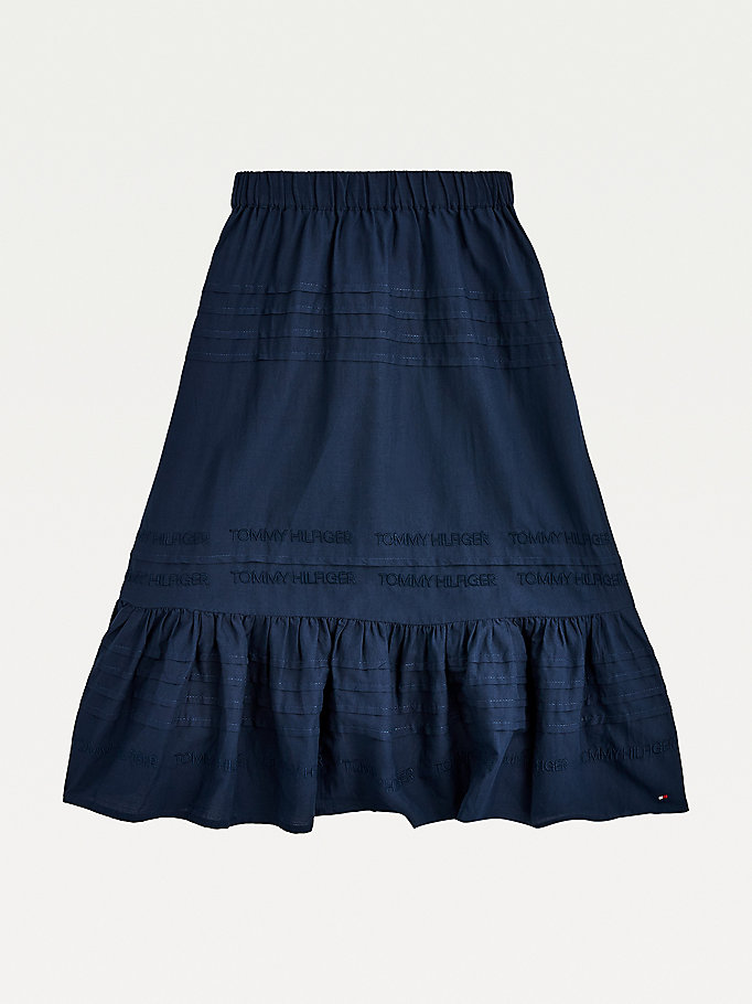 blue logo maxi skirt for girls tommy hilfiger