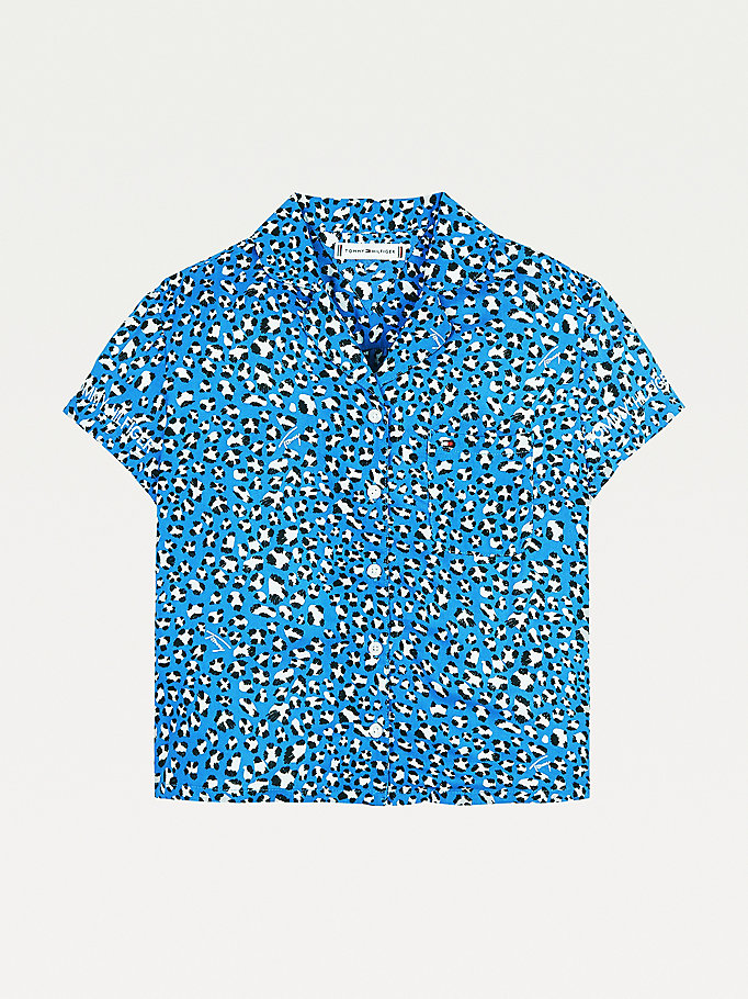 blue leopard print short sleeve shirt for girls tommy hilfiger