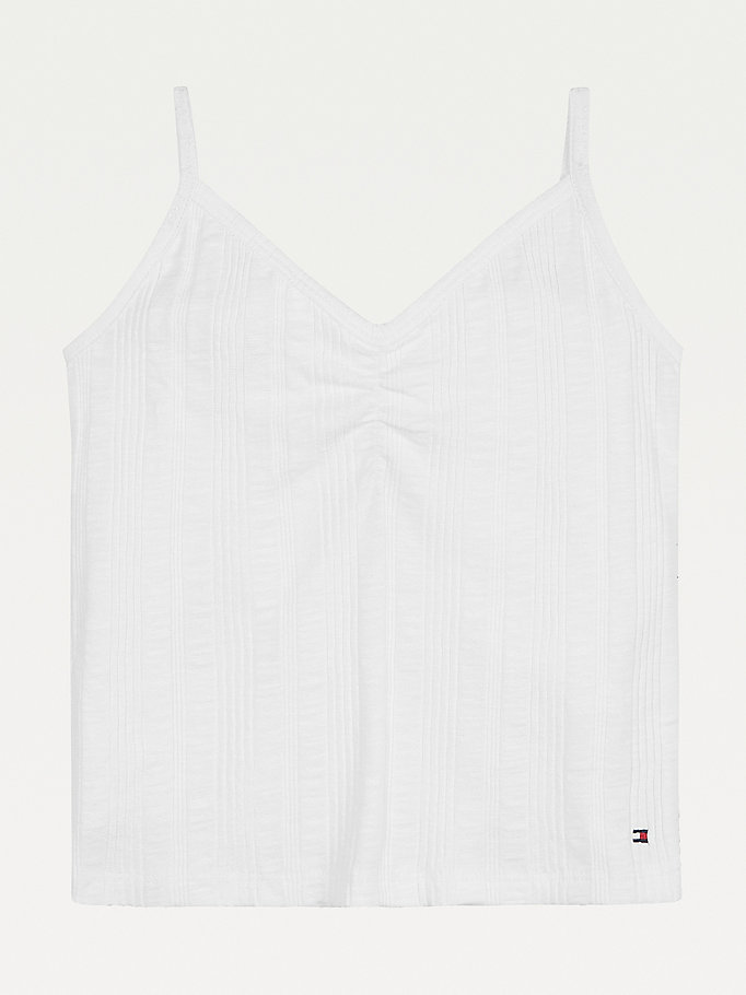 white rib-knit cami for girls tommy hilfiger
