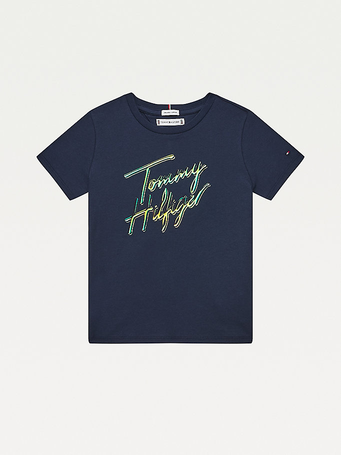 blue organic cotton signature logo t-shirt for girls tommy hilfiger