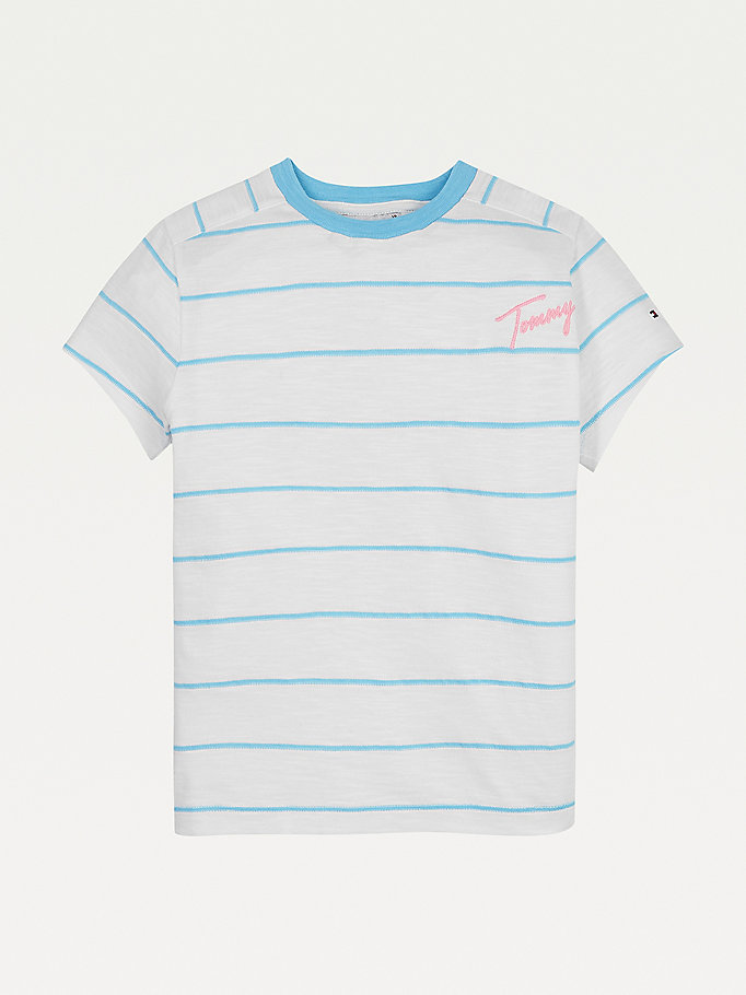 blue horizontal stripe signature logo t-shirt for girls tommy hilfiger