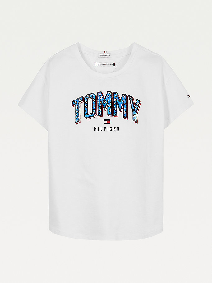 white satin logo t-shirt for girls tommy hilfiger
