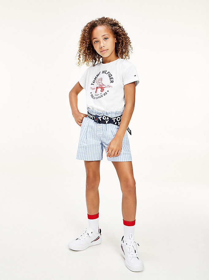 white logo skater print organic cotton t-shirt for girls tommy hilfiger