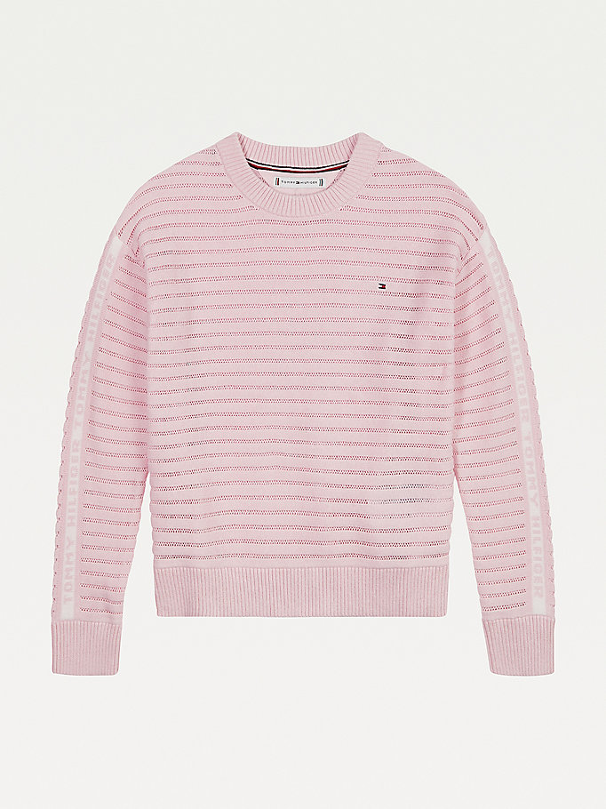 pink striped open knit jumper for girls tommy hilfiger
