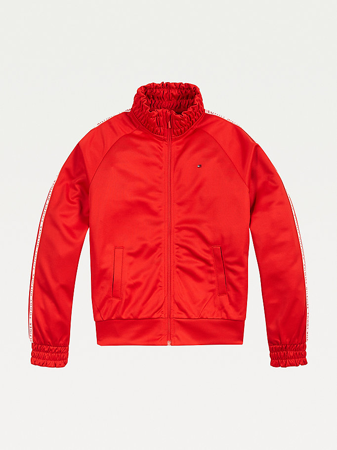 red zip-thru tracksuit jacket for girls tommy hilfiger