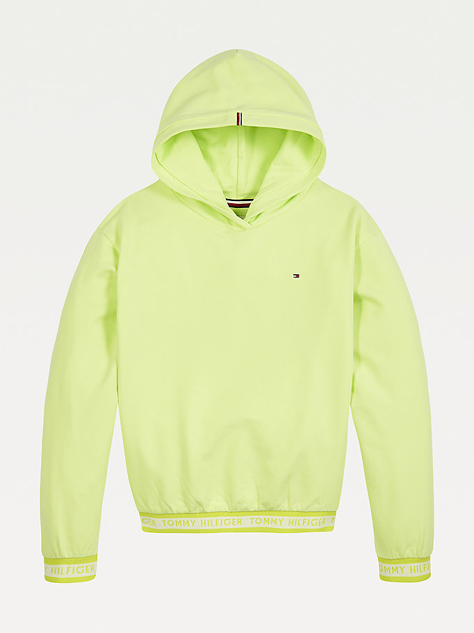 green logo tape hoody for girls tommy hilfiger