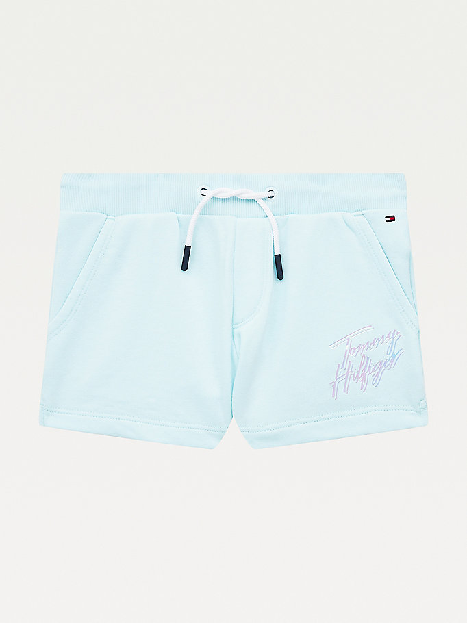 blue signature logo print shorts for girls tommy hilfiger