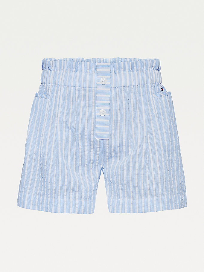 shorts in seersucker con vita a sacchetto blu da girls tommy hilfiger