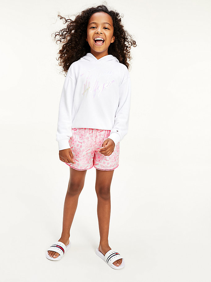 white floral embroidery shorts for girls tommy hilfiger