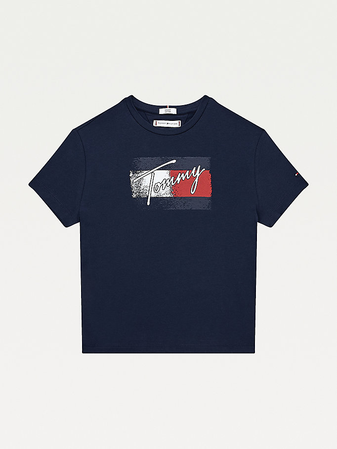 blue organic cotton flag print t-shirt for girls tommy hilfiger
