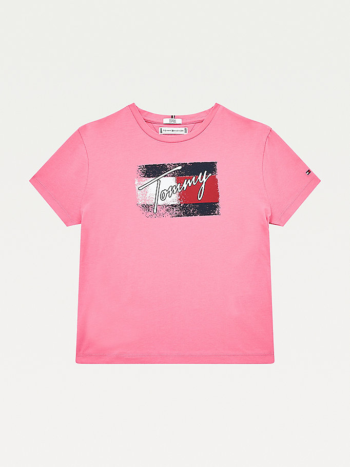 pink organic cotton flag print t-shirt for girls tommy hilfiger