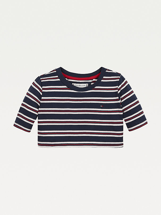 blue stripe pull-on organic cotton t-shirt for girls tommy hilfiger